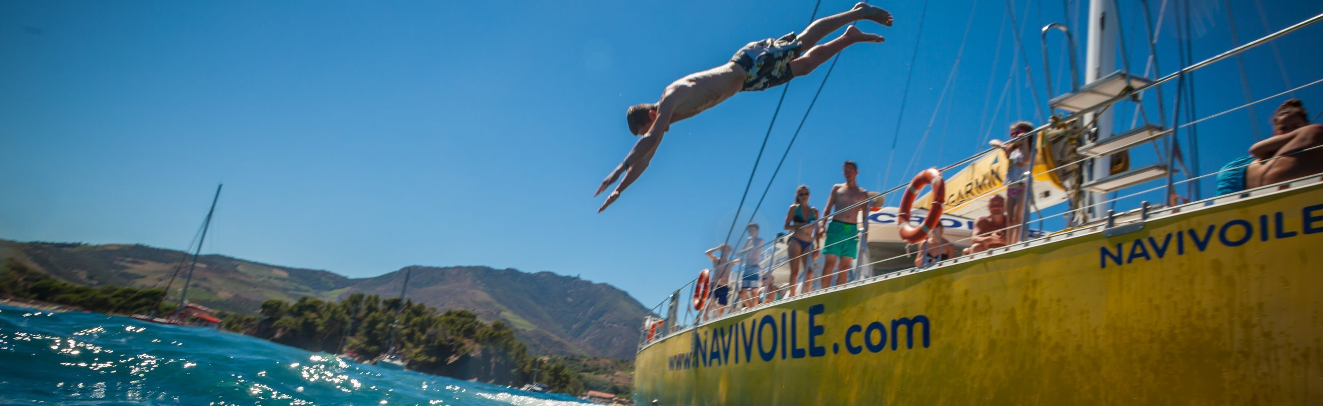 catamaran navivoile plongeon croisiere grillade et baignade baie de paulilles