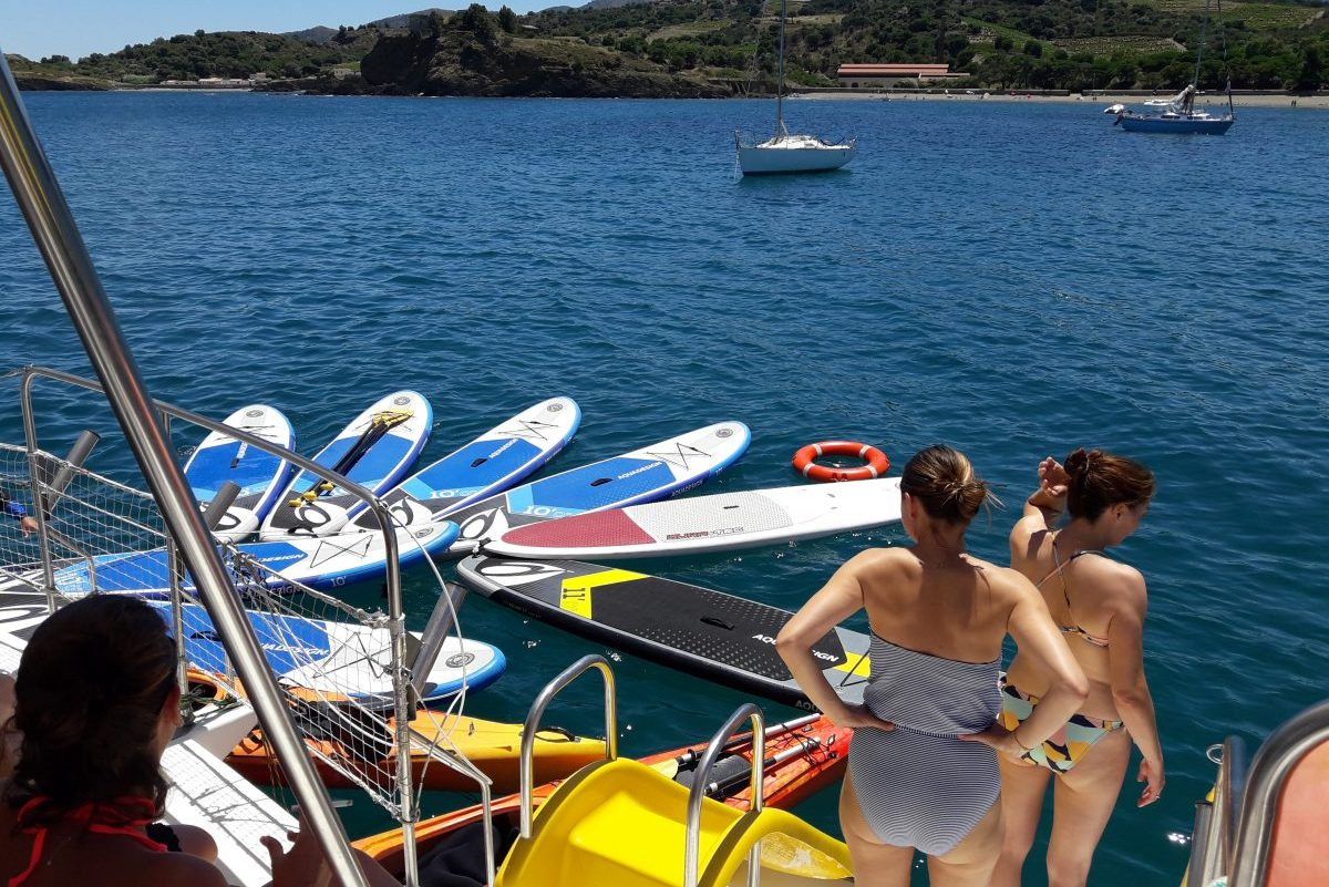 groupes de particuliers et entreprises catamaran navivoile privatisation et paddle et kayaks baie de paulilles