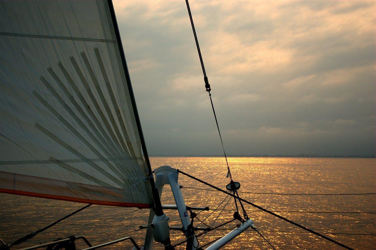 catamaran navivoile croisiere chante avec les dauphins au depart de canet en roussillon au retour de la sortie en mer et au large de port saint cyprien et canet en roussillon