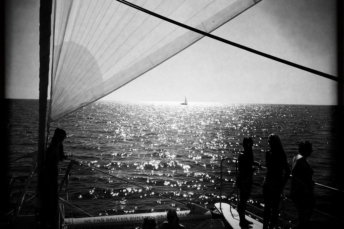 catamaran navivoile croisiere chante avec les dauphins au depart de canet en roussillon en navigation sous voiles au large de collioure