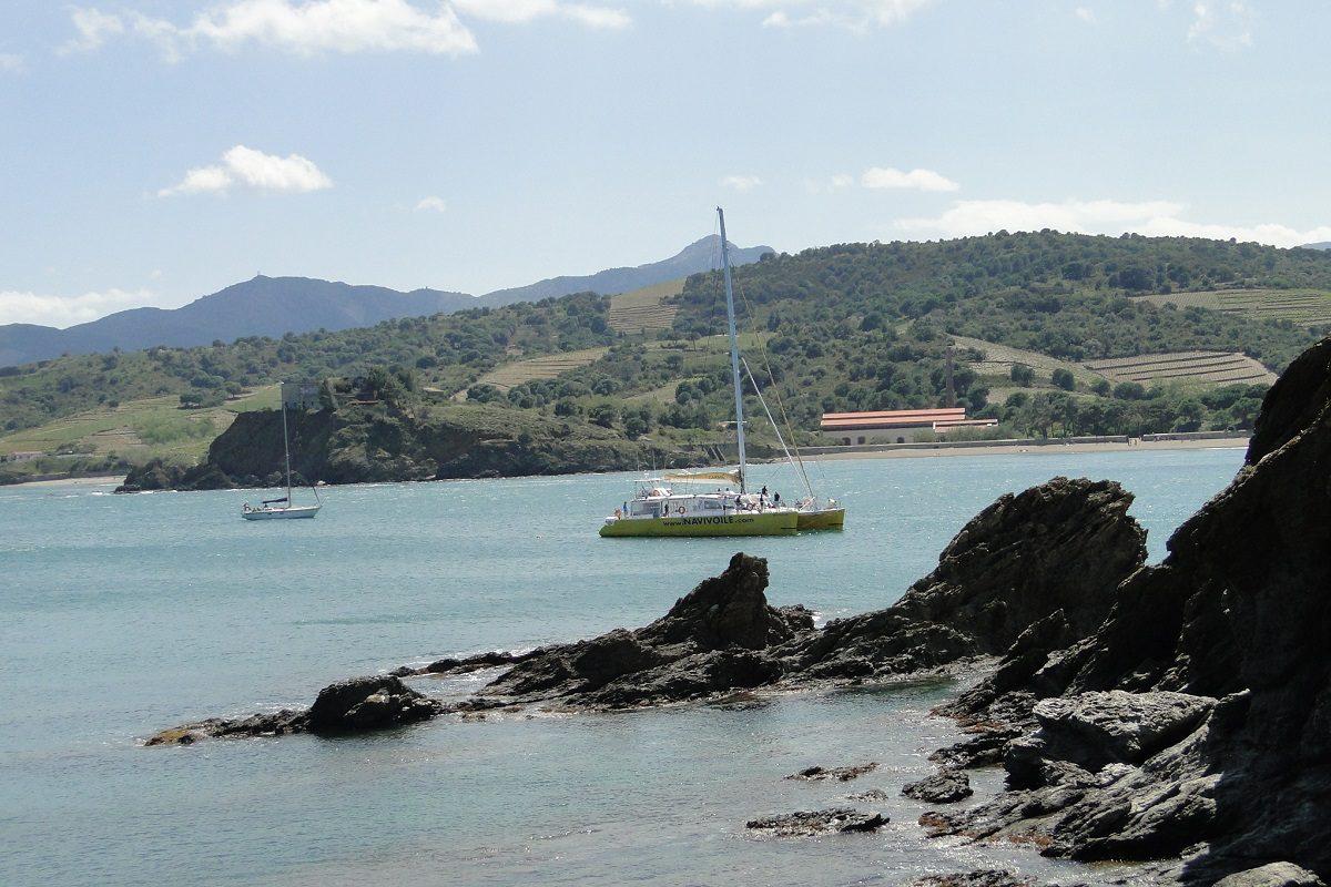 catamaran navivoile croisiere grillade et baignade sur le bateau en baie de paulilles au depart de canet en roussillon ou port vendres au mouillage bernardi