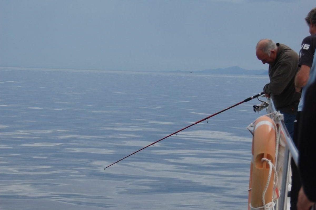 catamaran navivoile peche cotiere en face de canet en roussillon au mouillage
