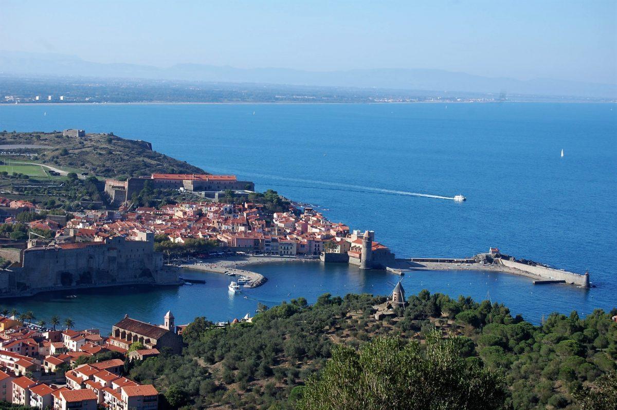catamaran navivoile tarifs groupe agence bateau privatise au depart de canet en roussillon ou port vendres dans les pyrenees orientales vue sur collioure depuis fort saint elme